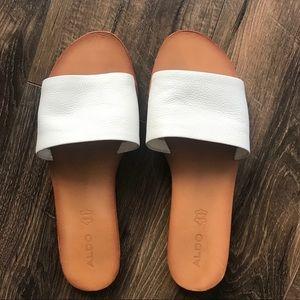 White leather Aldo slides sandals